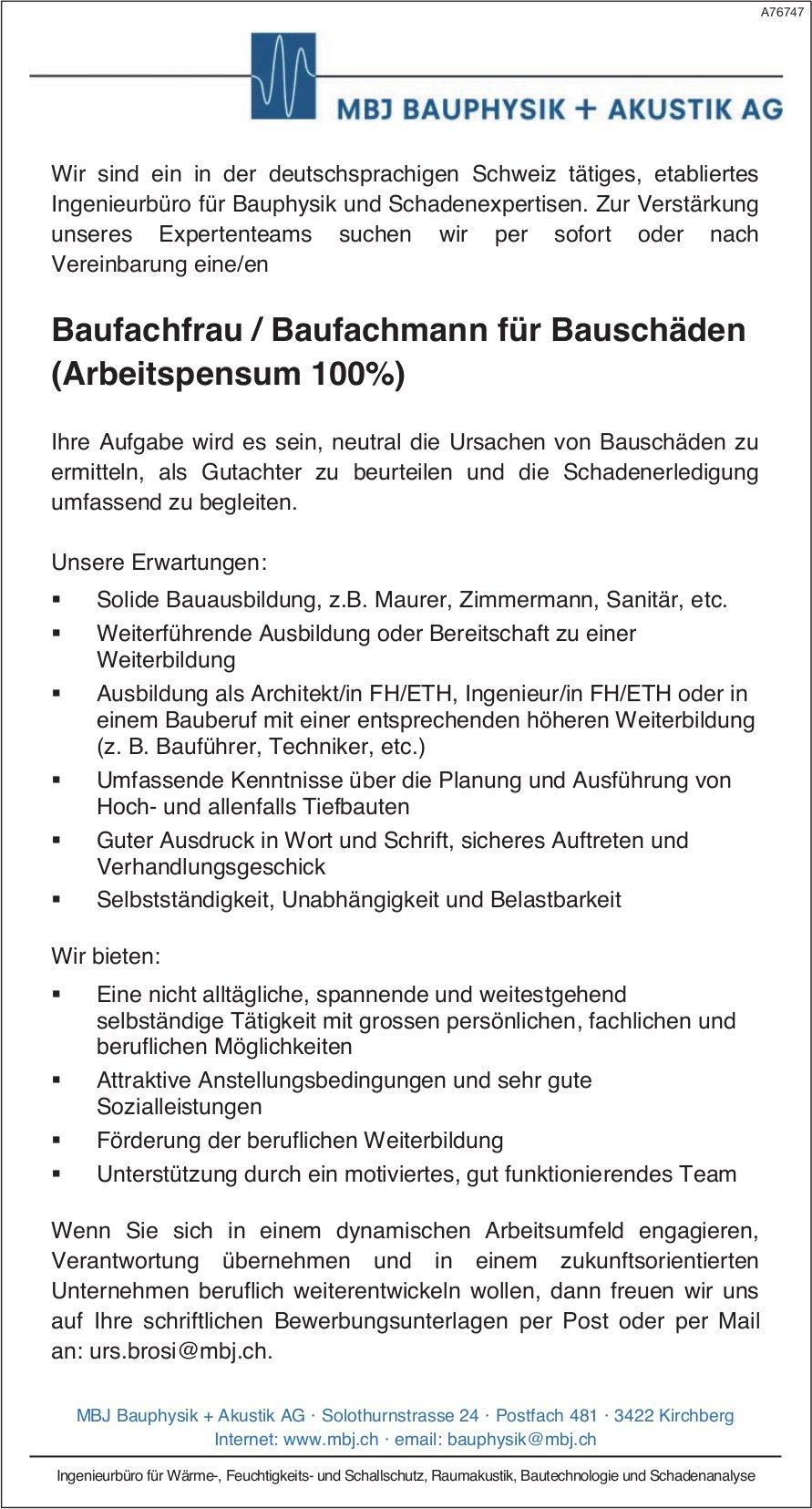 Baufachfrau / Baufachmann für Bauschäden (Arbeitspensum 100%), MBJ BAUPHYSIK + AKUSTIK AG, Kirchberg