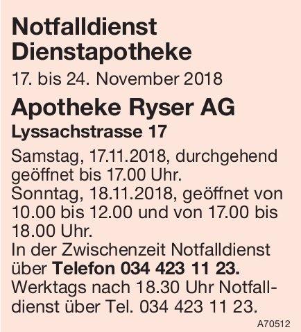 Notfalldienst Dienstapotheke, 17. - 24. November - Apotheke Ryser AG, Burgdorf