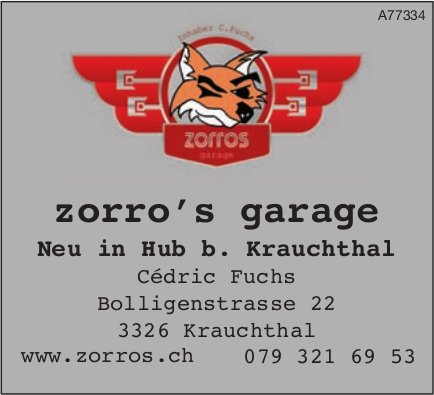 Zorro's garage, Hub b. Krauchthal