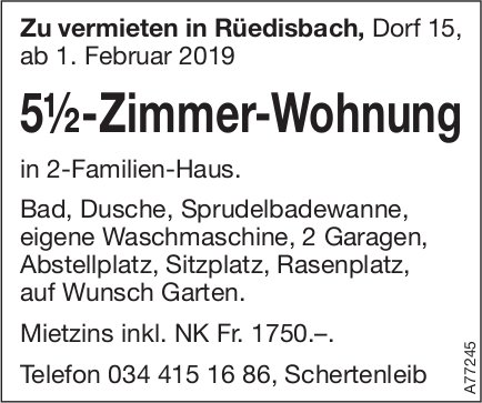 5.5-Zimmer-Wohnung, Rüedisbach, zu vermieten