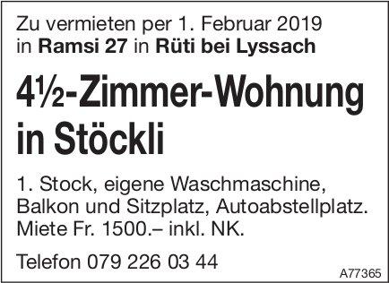 4.5-Zimmer-Wohnung in Stöckli, Rüti bei Lyssach, zu vermieten