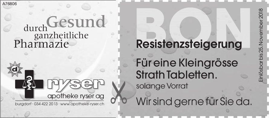 Apotheke Ryser AG, Burgdorf - Bon, Für eine Kleingrösse Strath Tabletten.