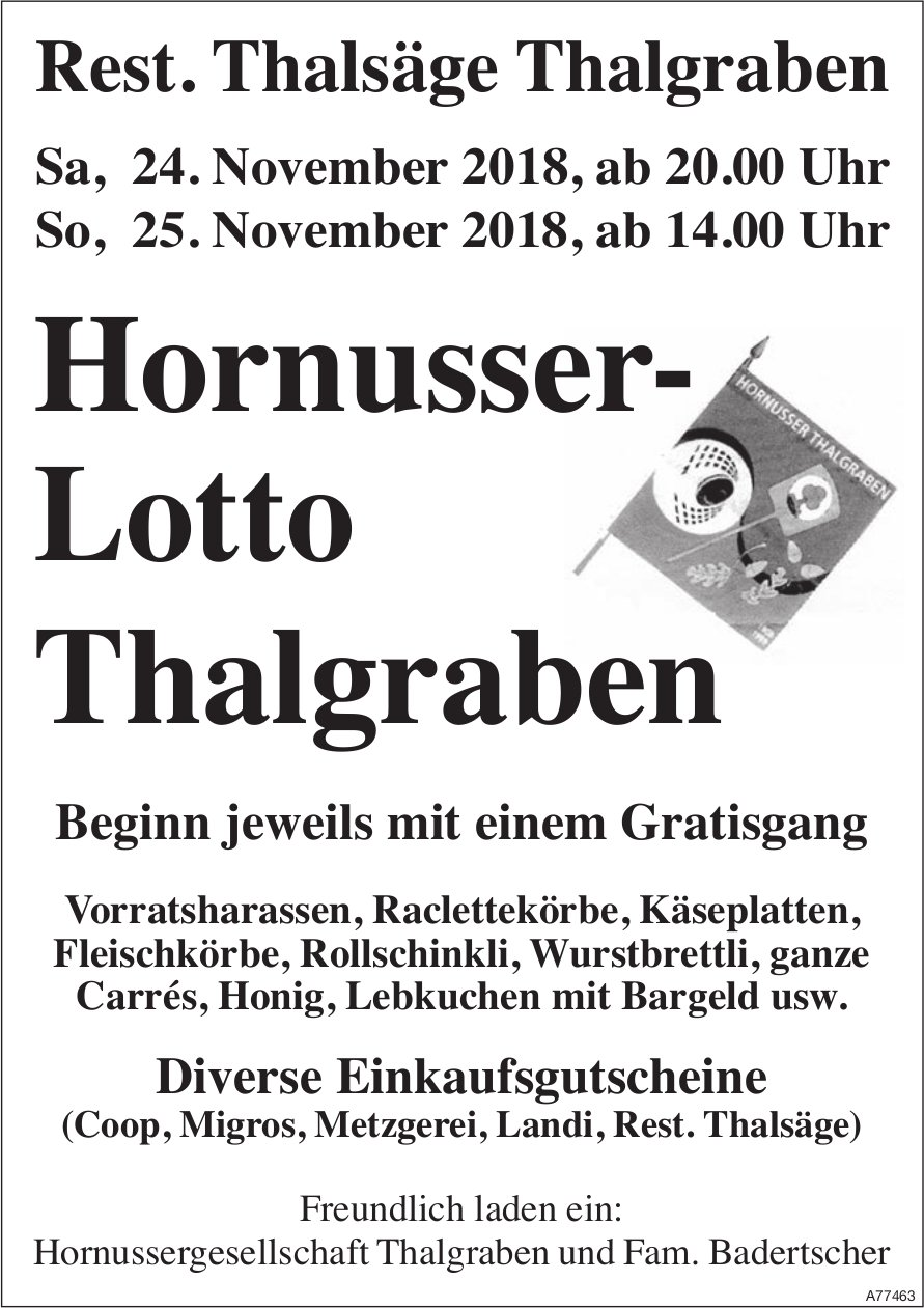 Hornusser-Lotto, 24./25. November, Thalgraben
