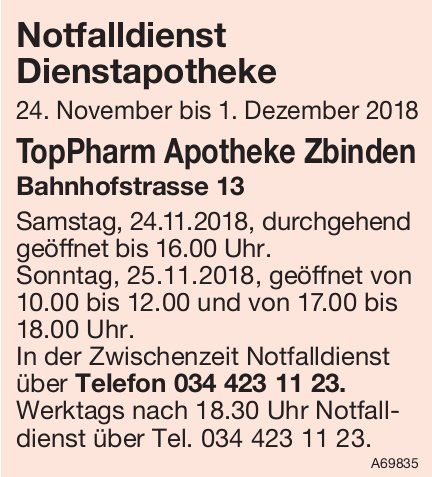 Notfalldienst Dienstapotheke, 24. November - 1. Dezember - TopPharm Apotheke Zbinden