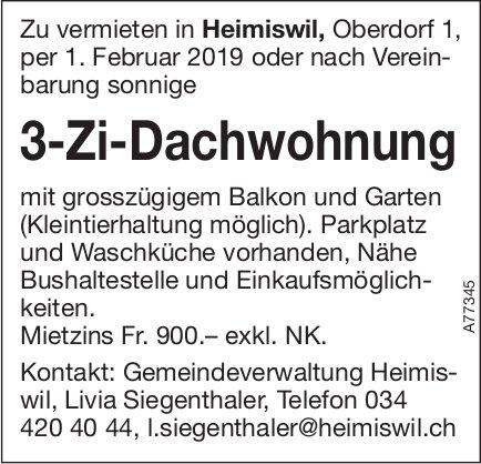 3-Zi-Dachwohnung, Heimiswil, zu vermieten