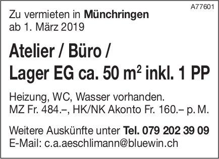 Atelier / Büro / Lager EG ca. 50 m2 inkl. 1 PP, Münchringen, zu vermieten