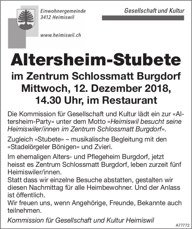 Altersheim-Stubete, 12. Dezember, im Zentrum Schlossmatt Burgdorf