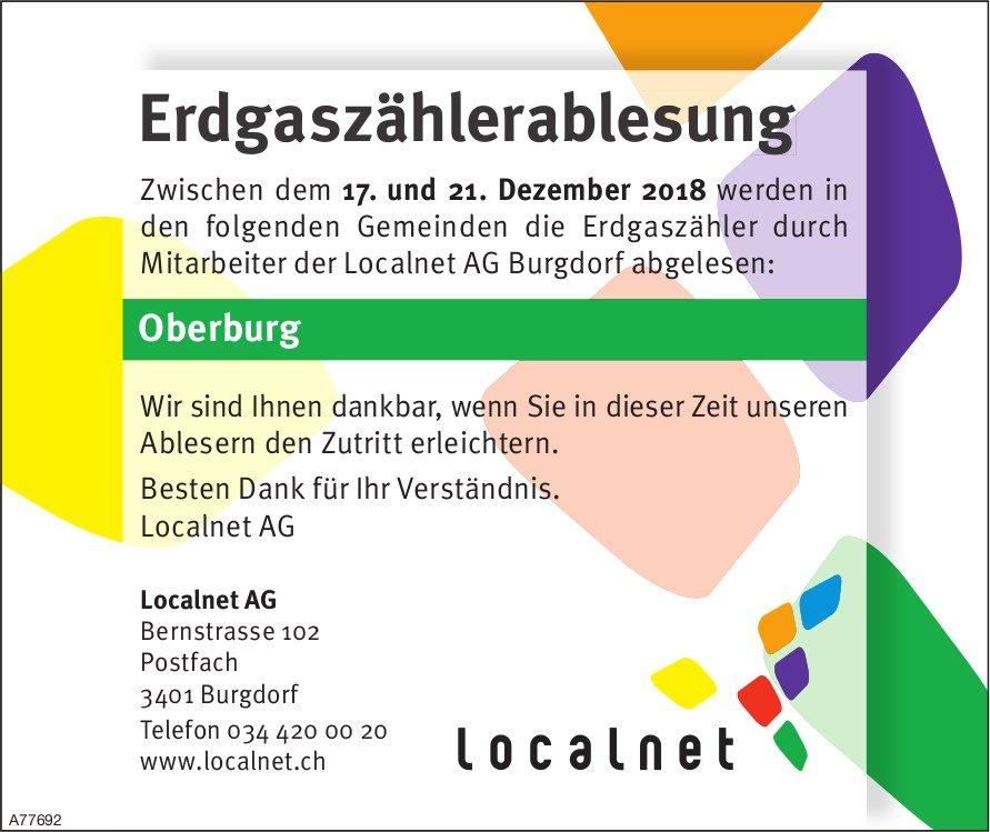 Erdgaszählerablesung, Localnet AG, 17. - 21. Dezember, Burgdorf