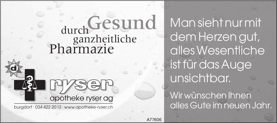 Apotheke Ryser AG, Burgdorf - Wir wünschen Ihnen alles Gute im neuen Jahr.