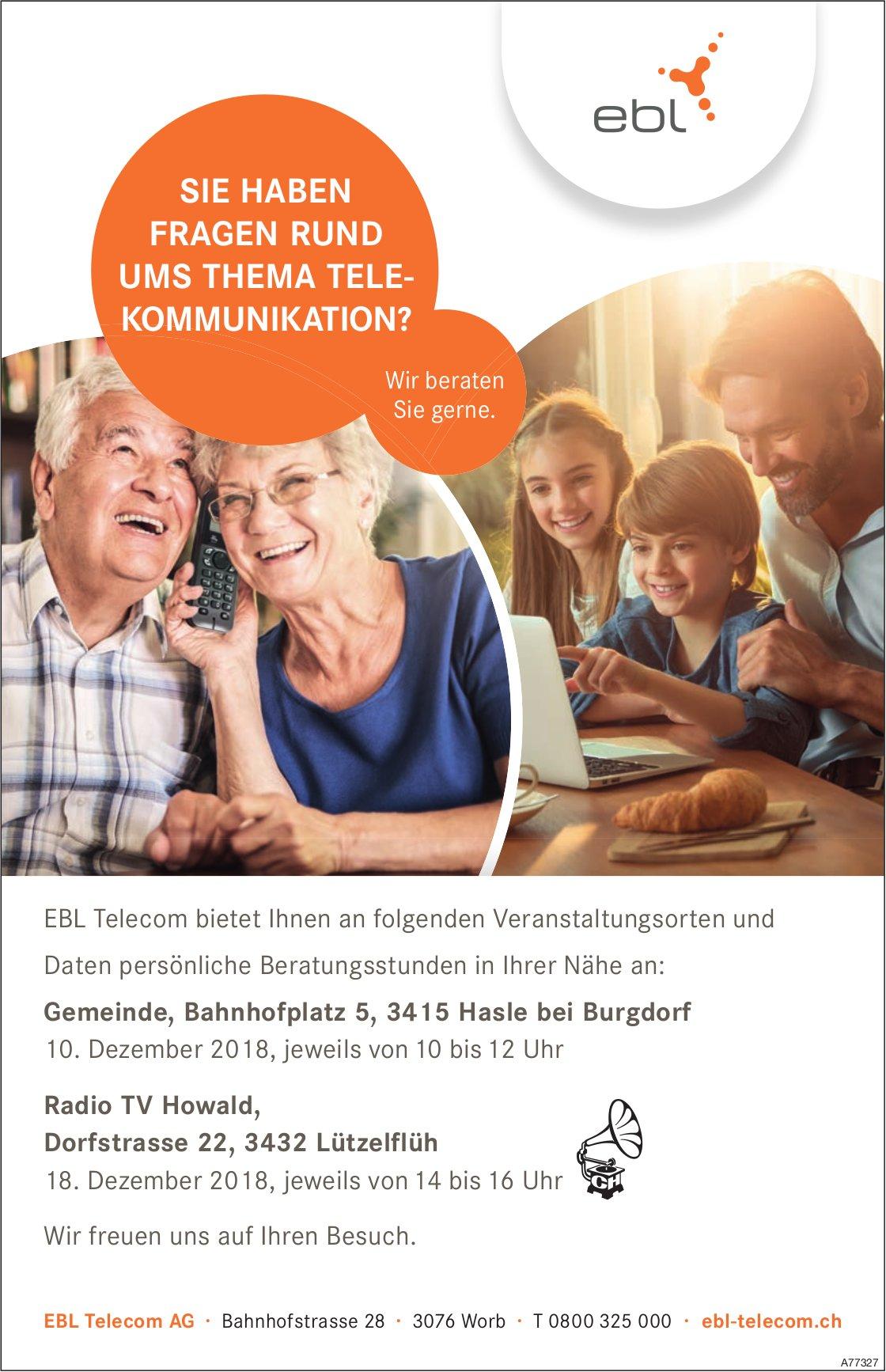 EBL Telecom, persönliche Beratungsstunden, 10. + 18. Dezember, Hasle b. Burgdorf & Lützelflüh