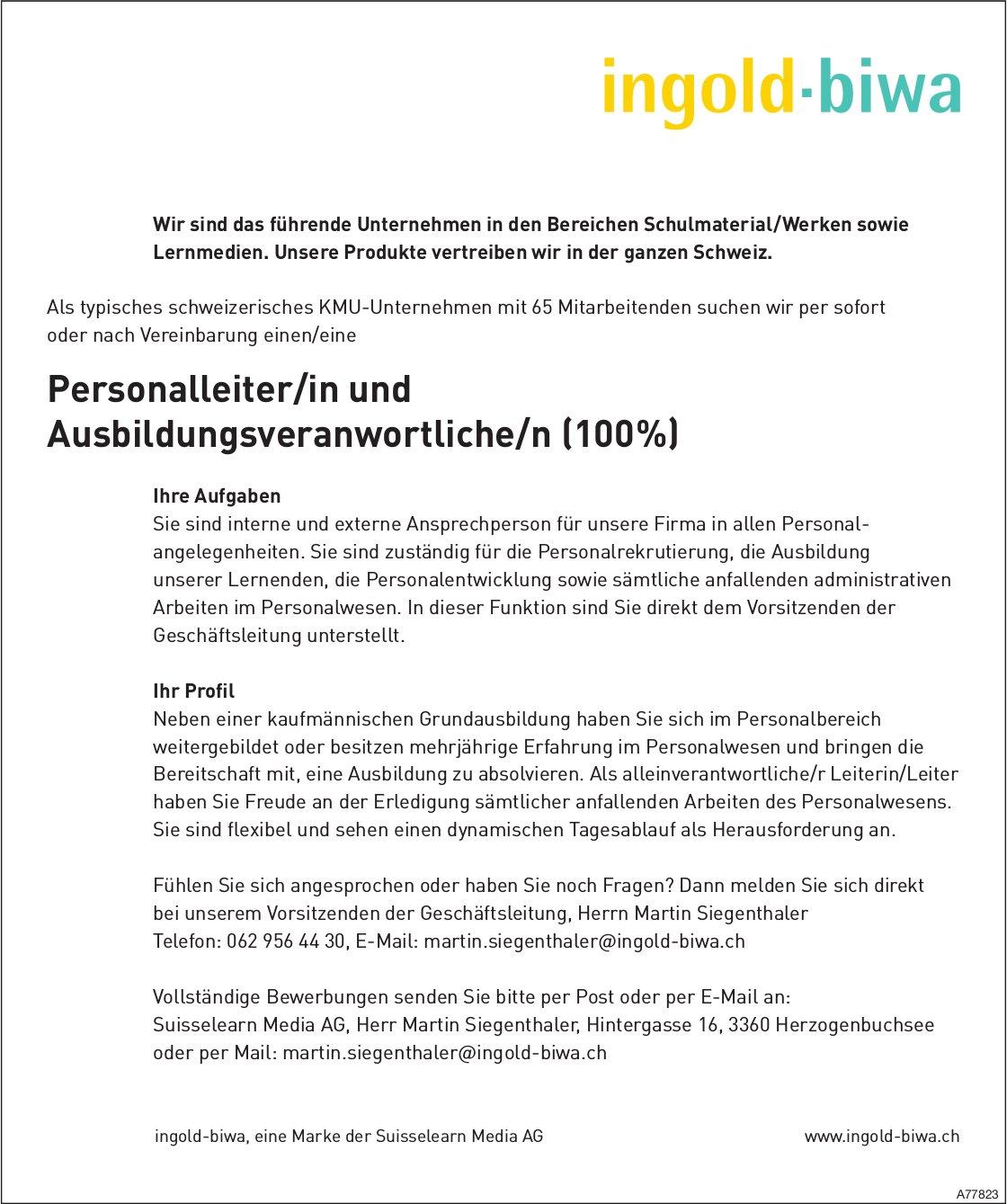 Personalleiter/in und Ausbildungsveranwortliche/n (100 %), Suisselearn Media AG, Herzogenbuchsee