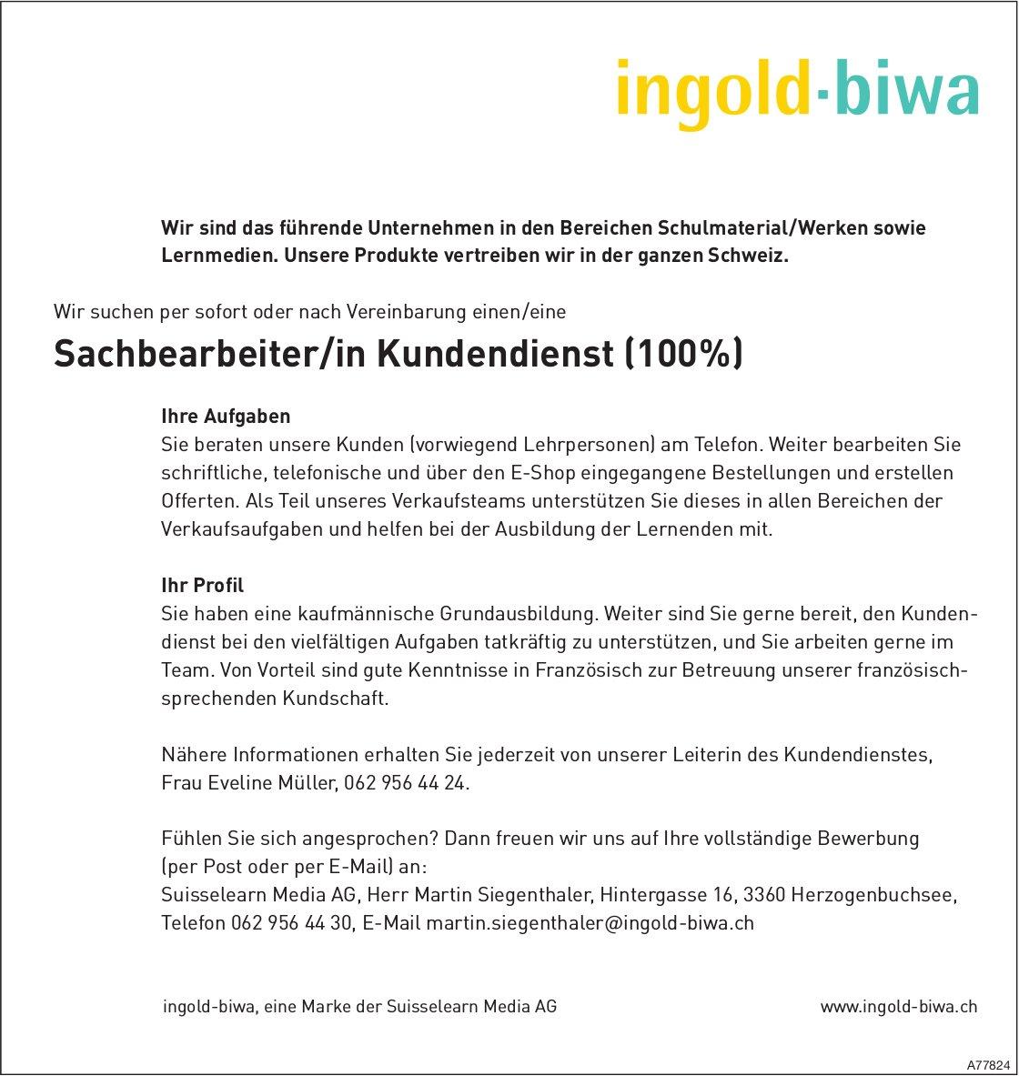Sachbearbeiter/in Kundendienst (100 %), Suisselearn Media AG, Herzogenbuchsee, gesucht
