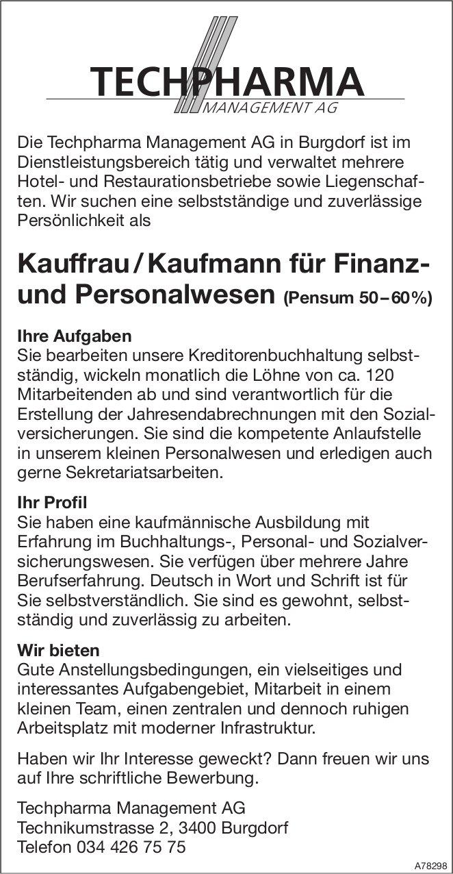Kauffrau/KaufmannfürFinanz- undPersonalwesen(Pensum50–60%), Techpharma Management AG