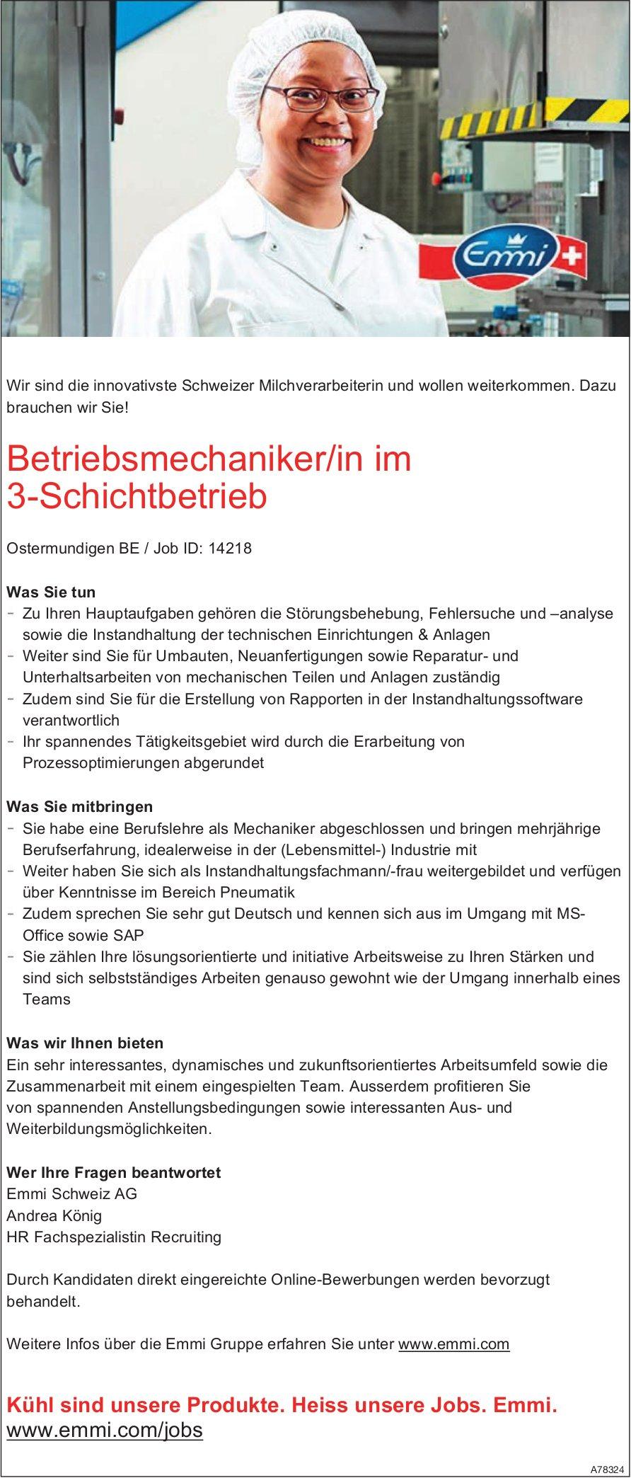 Betriebsmechaniker/in im 3-Schichtbetrieb, Emmi Schweiz AG, Ostermundigen BE, gesucht