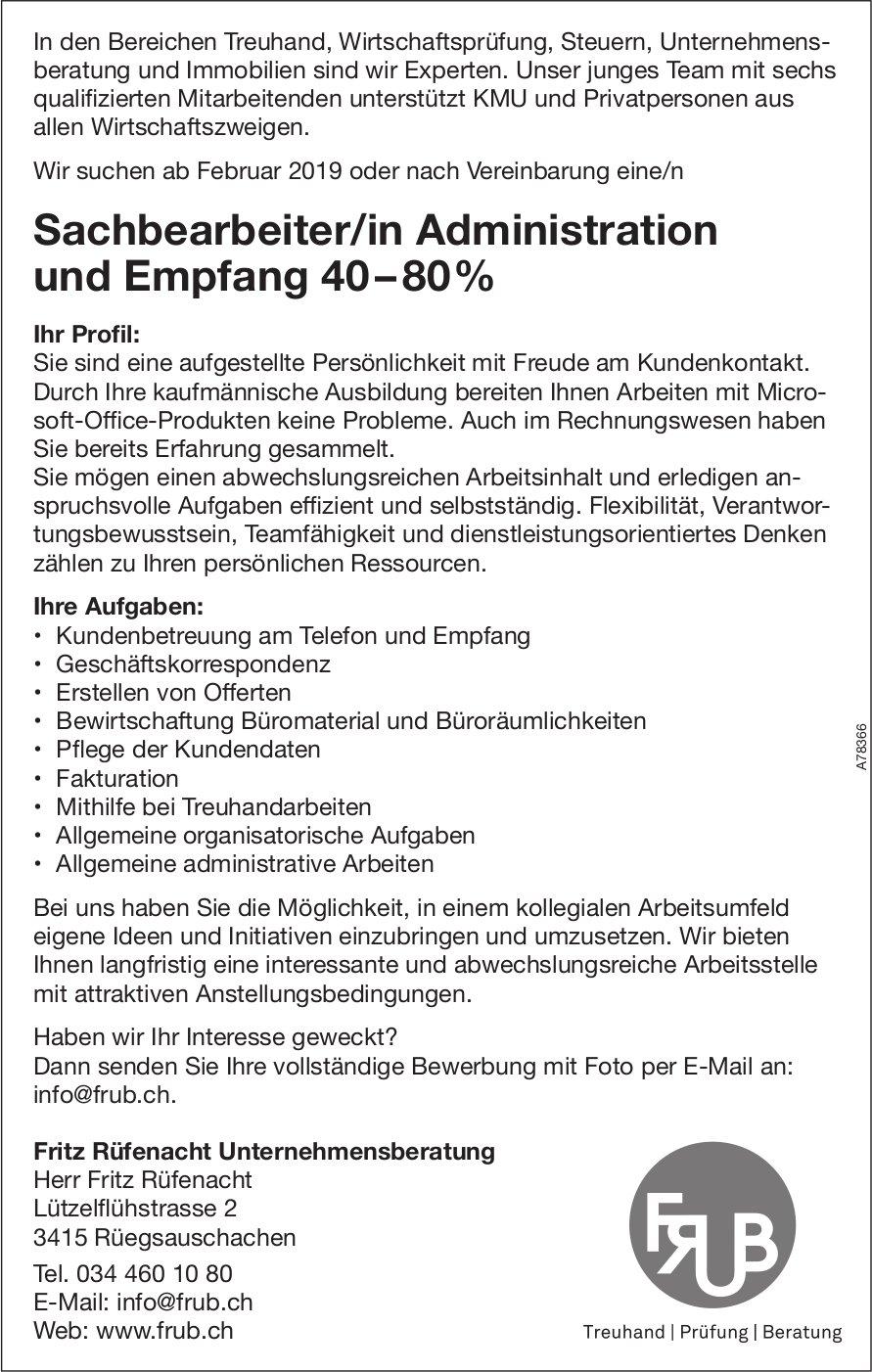 Sachbearbeiter/in Administration und Empfang 40–80%, Fritz Rüfenacht Unternehmensberatung, gesucht