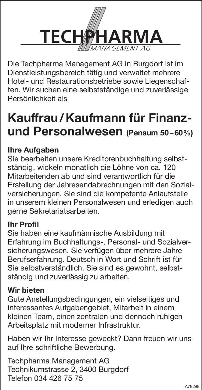 Kauffrau / Kaufmann für Finanz- und Personalwesen (50 – 60%), Techpharma Management AG, Burgdorf