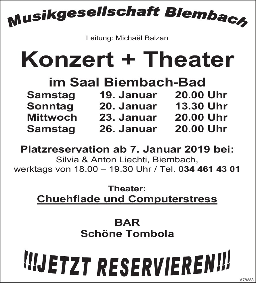 Konzert + Theater, 19./20./23. + 26. Januar, Saal Biembach-Bad