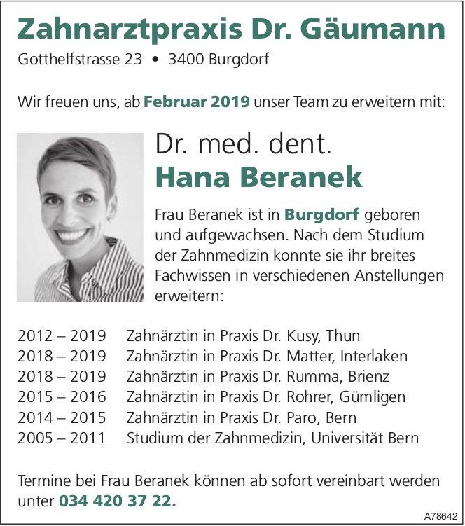 Zahnarztpraxis Dr. Gäumann, Burgdorf - Dr. med. dent. Hana Beranek