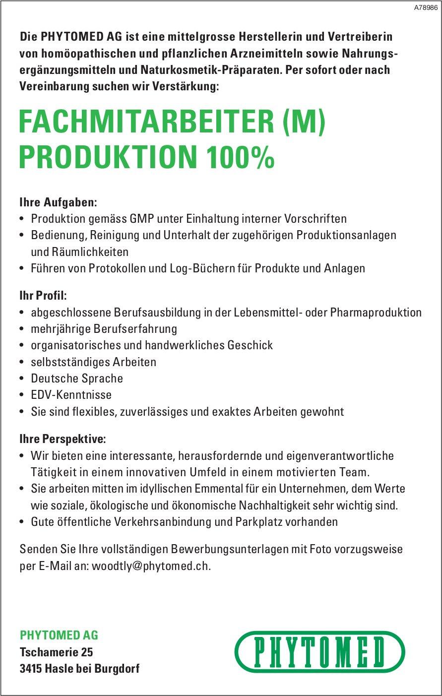 FACHMITARBEITER (M) PRODUKTION 100%, PHYTOMED AG, Hasle bei Burgdorf, gesucht