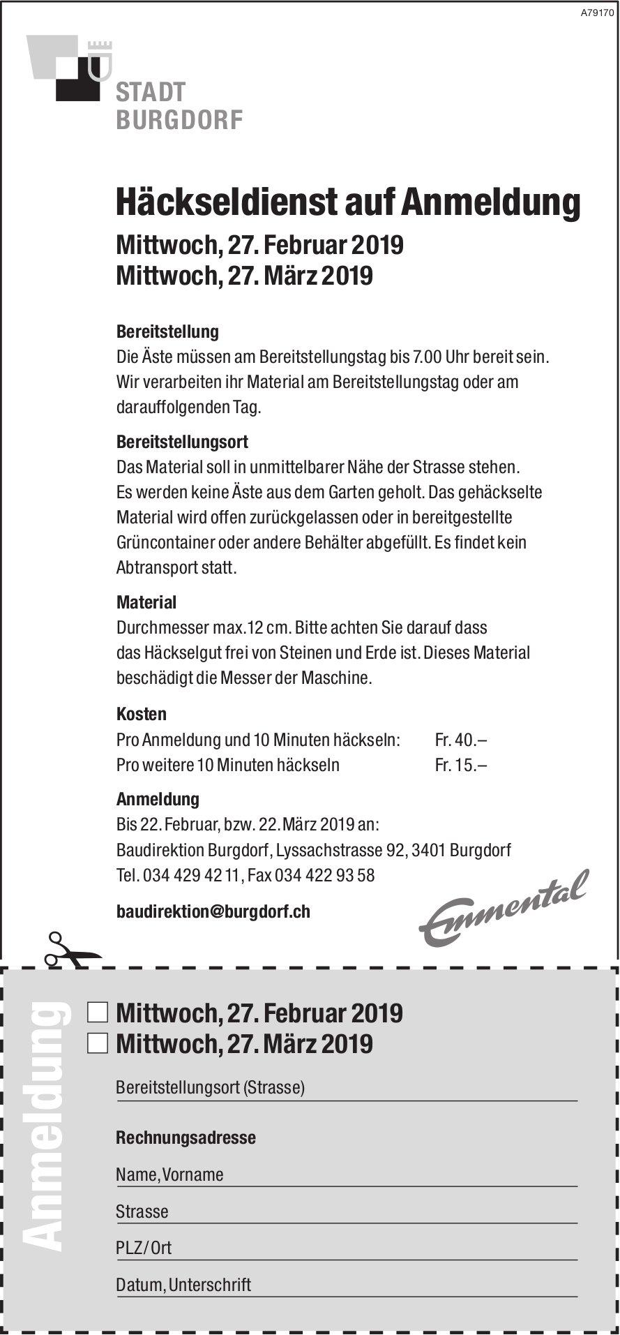 Häckseldienst auf Anmeldung, 27. Februar - 27. März, Stadt Burgdorf