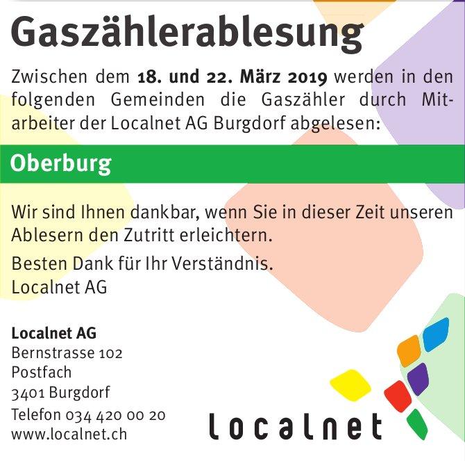 Gaszählerablesung, 18. - 22. März, Localnet AG, Oberburg