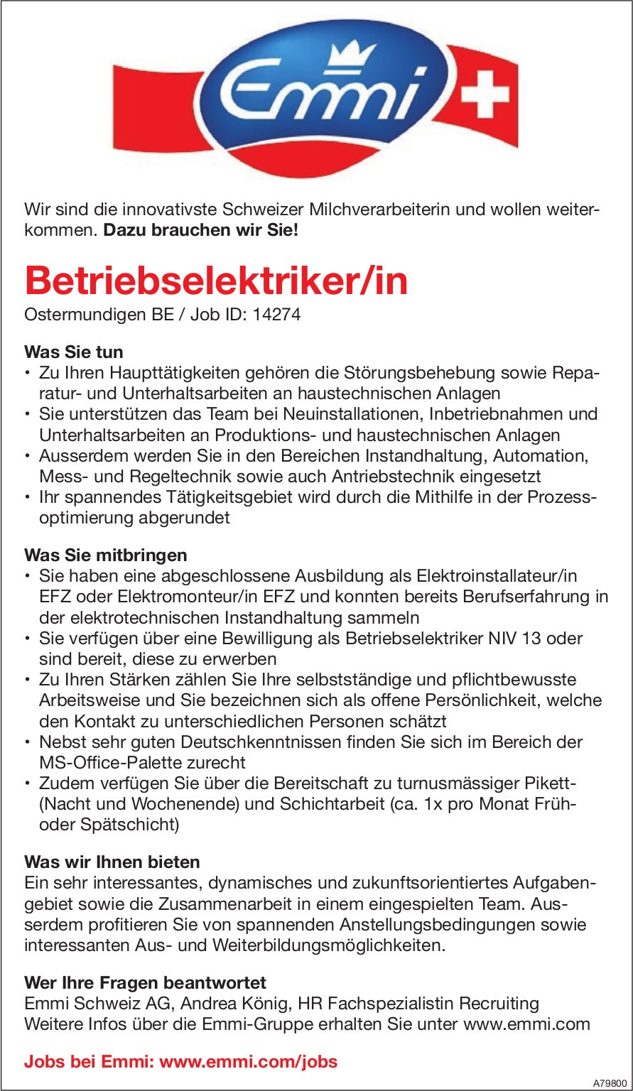Betriebselektriker/in, Emmi Schweiz AG, Ostermundigen BE, gesucht