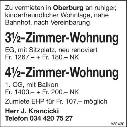 3.2- und 4.5-Zimmer-Wohnung, Oberburg, zu vermieten