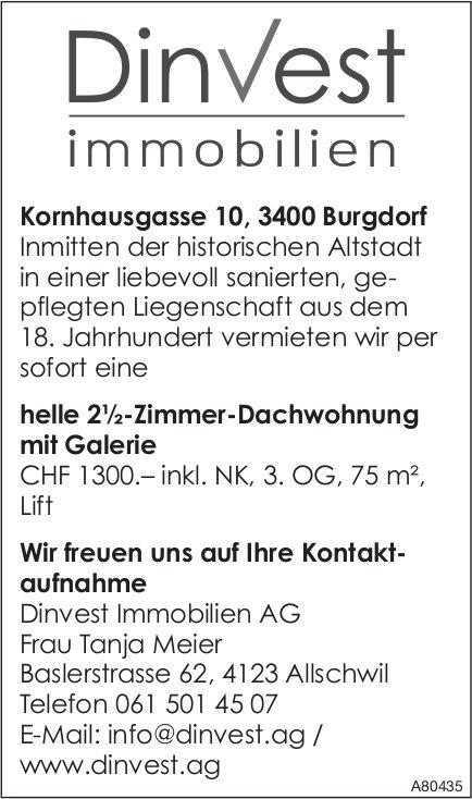 2.5-Zimmer-Dachwohnung mit Galerie, Burgdorf, zu vermieten