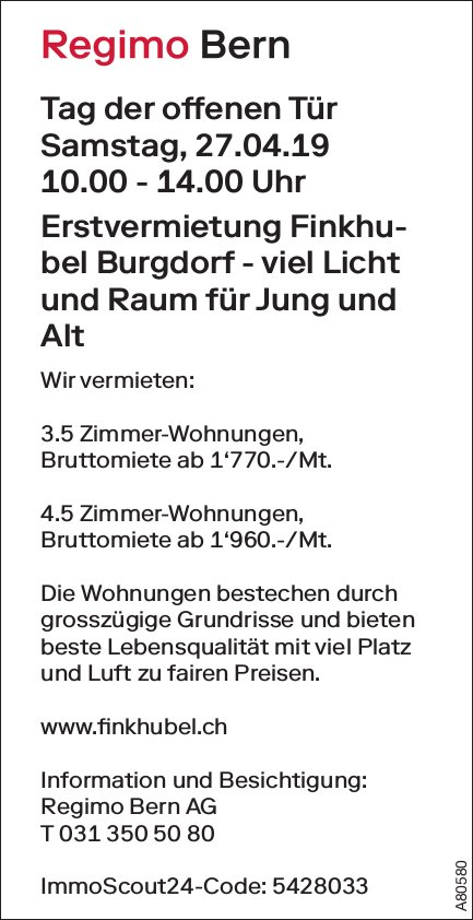 Tag der offenen Tür, 27. April, 3.5- und 4.5-Zimmer-Wohnungen, Erstvermietung Finkhubel Burgdorf