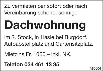 Dachwohnung, Hasle bei Burgdorf, zu vermieten