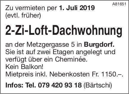 2-Zi-Loft-Dachwohnung, Burgdorf, zu vermieten