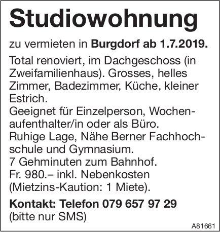 Studiowohnung, Burgdorf, zu vermieten