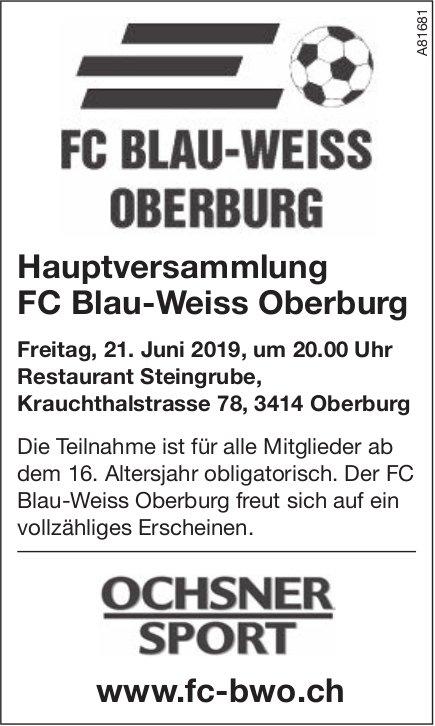 Hauptversammlung FC Blau-Weiss Oberburg, 21. Juni, Restaurant Steingrube, Oberburg