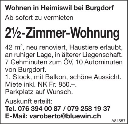 2.5-Zimmer-Wohnung, Heimiswil bei Burgdorf, zu vermieten