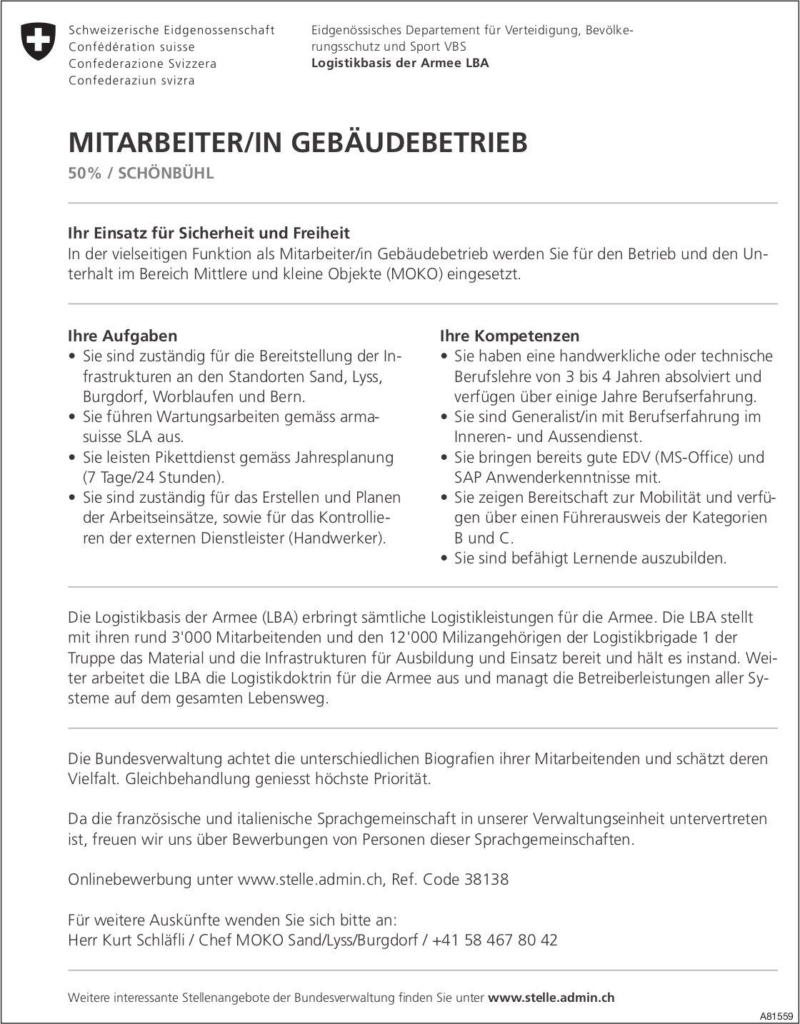 MITARBEITER/IN GEBÄUDEBETRIEB, 50%, Logistikbasis der Armee LBA, SCHÖNBÜHL, gesucht