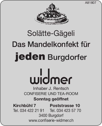 CONFISERIE UND TEA-ROOM Widmer, Burgdorf - Solätte-Gägeli, das Mandelkonfekt für jeden Burgdorfer