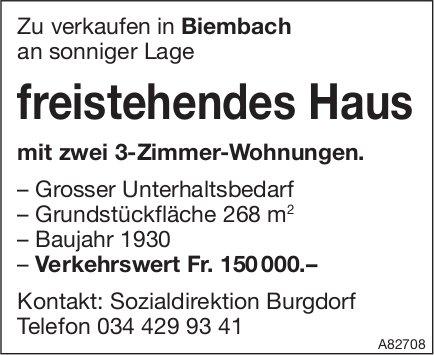 Freistehendes Haus mit zwei 3-Zimmer-Wohnungen, Biembach, zu verkaufen