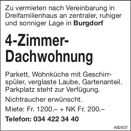 4-Zimmer-Dachwohnung, Burgdorf, zu vermieten
