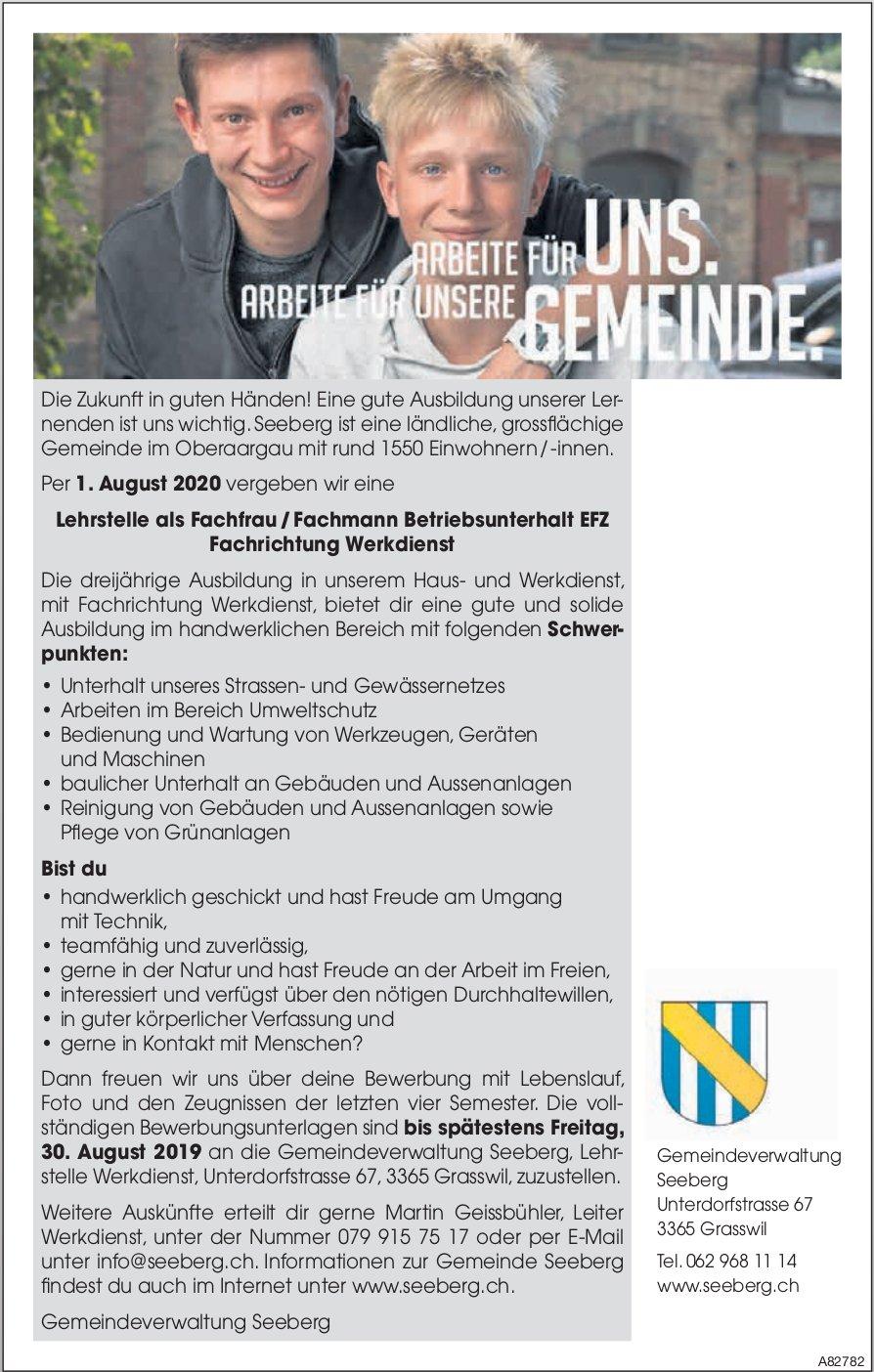 Lehrstelle als Fachfrau / -mann Betriebsunterhalt EFZ Fachrichtung Werkdienst, Seeberg, zu vergeben