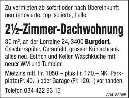 2.5-Zimmer-Dachwohnung, Burgdorf, zu vermieten