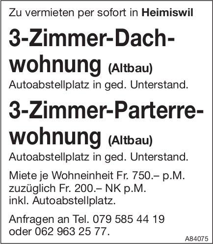 3-Zimmer-Dachwohnung, Heimiswil, zu vermieten