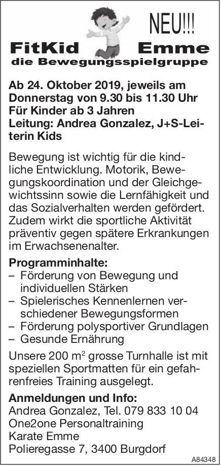 Neu!!! FitKid Emme, die Bewegungsspielgruppe ab 24. Oktober