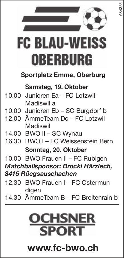 FG BLAU-WEISS OBERBURG, Sportplatz Emme, Oberburg am 19. Oktober