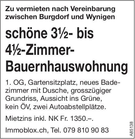 3.5- bis 4.5-Zimmer-Bauernhauswohnung, zwischen Burgdorf und Wynigen, zu vermieten