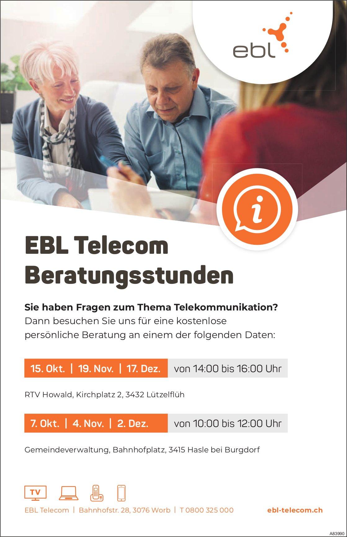 EBL Telecom Beratungsstunden, 2. + 17. Dezember