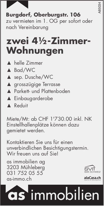 Zwei 4½-Zimmer-Wohnungen in Burgdorf zu vermieten