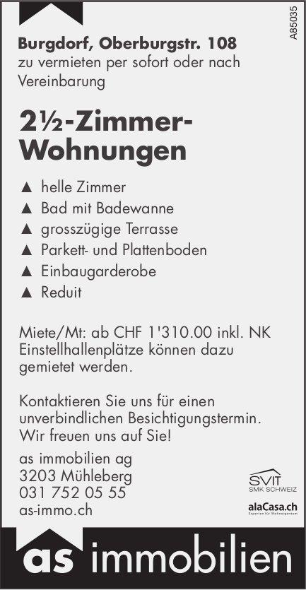 2½-Zimmer-Wohnungen in Burgdorf zu vermieten