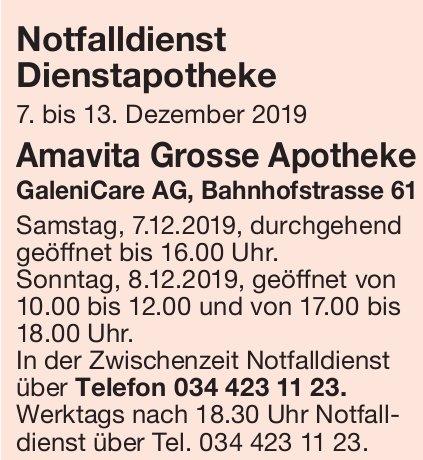 Notfalldienst Dienstapotheke, 7. - 13. Dezember - Amavita Grosse Apotheke, GaleniCare AG
