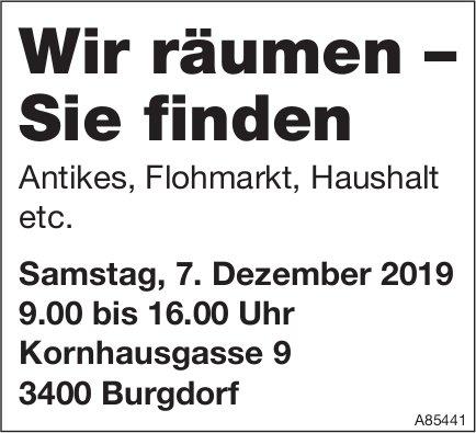 Wir räumen – Sie finden, Antikes, Flohmarkt, Haushalt etc., 7. Dezember, Burgdorf