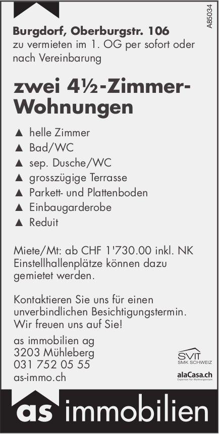 Zwei 4.5-Zimmer-Wohnungen, Burgdorf, zu vermieten
